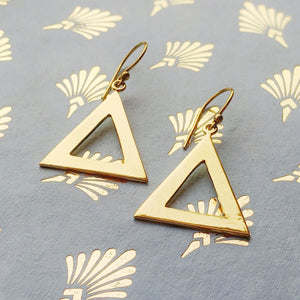 Brass Cut Out Triangle Earrings