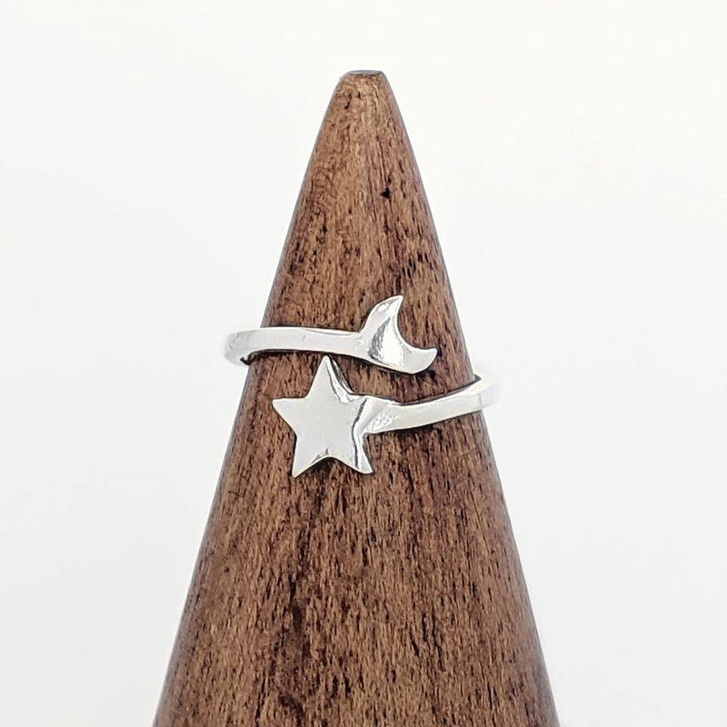 Sterling Silver Moon + Star Ring