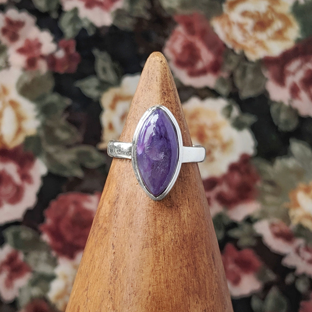 Sterling Silver Double Pointed Charoite Stone Ring