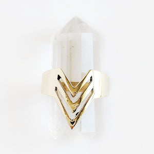 Brass Chevron Ring