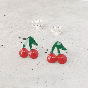 Sterling Silver Cherry Studs