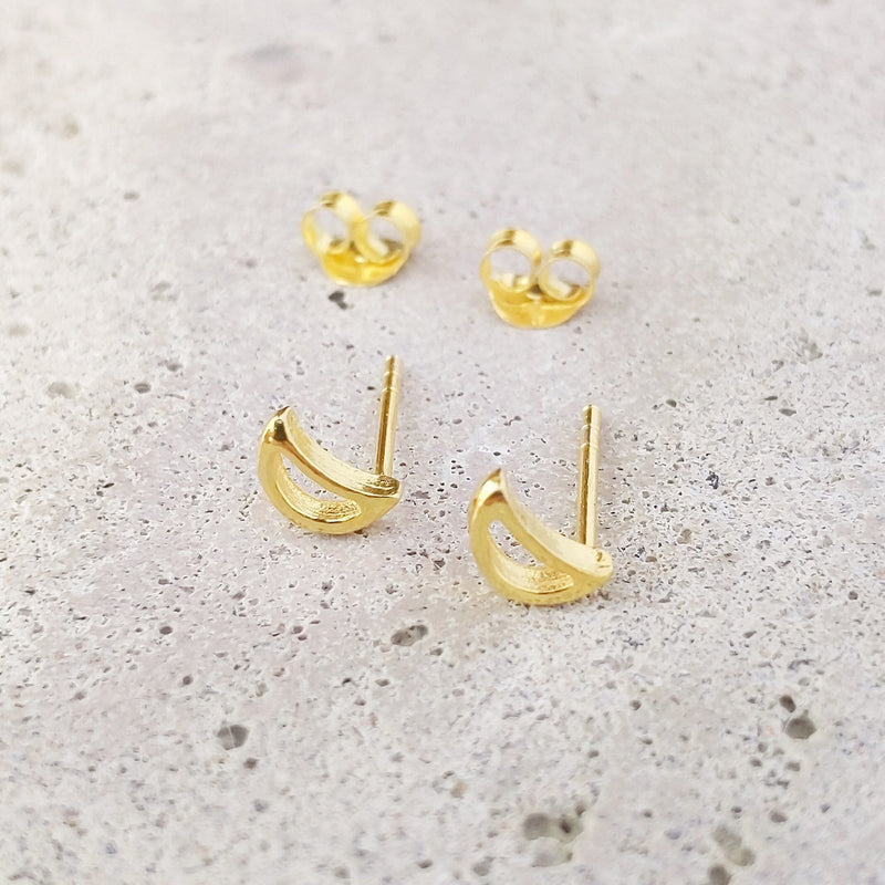 Gold Plated Sterling Silver Cut Out Crescent Moon Studs