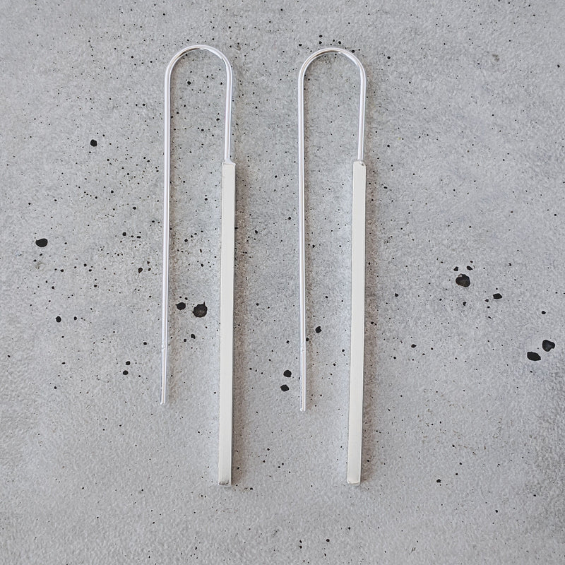 Sterling Silver Bar Drop Earrings