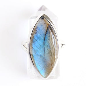 Pointed Oval Sterling Silver Labradorite Ring