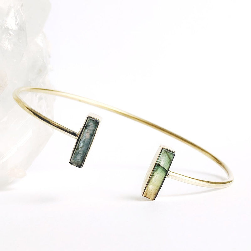 Adjustable Brass Labradorite Bangle