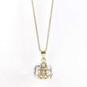Brass Crystal Double Terminated Necklace
