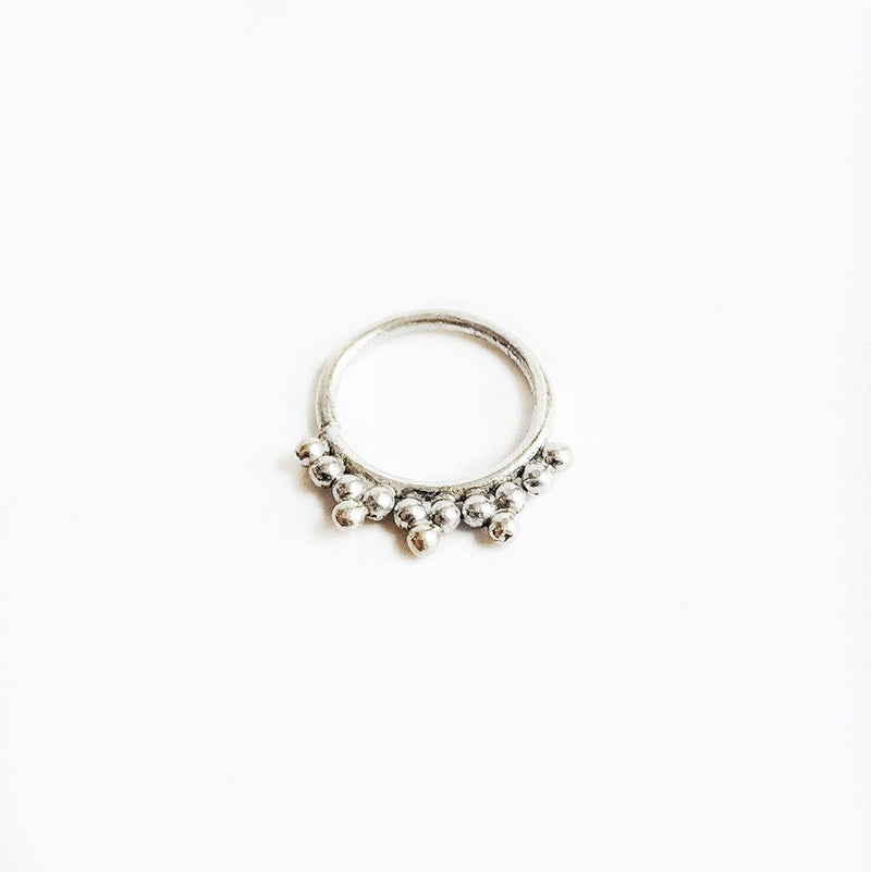 Sterling Silver Dotted Septum Ring w/Points