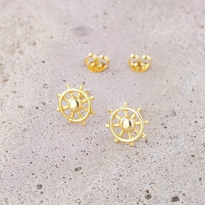 Gold Plated Sterling Silver Ship Wheel Studs