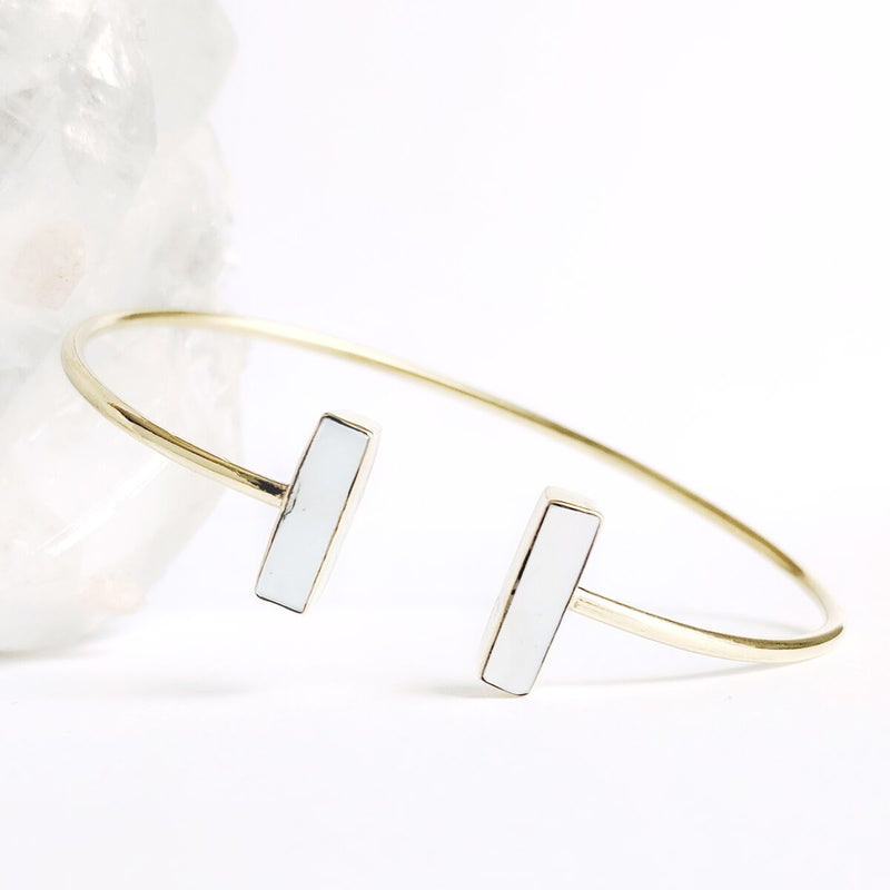 Adjustable Brass Pearl Bangle