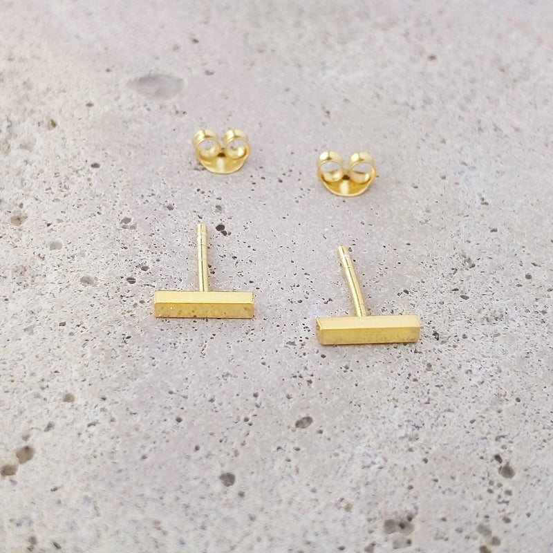 Gold Plated Sterling Silver Bar Studs
