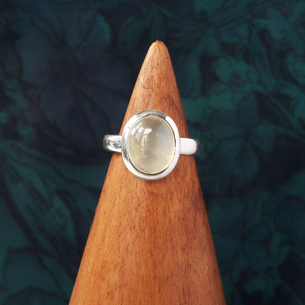 Sterling Silver Oval Prehnite Stone Ring
