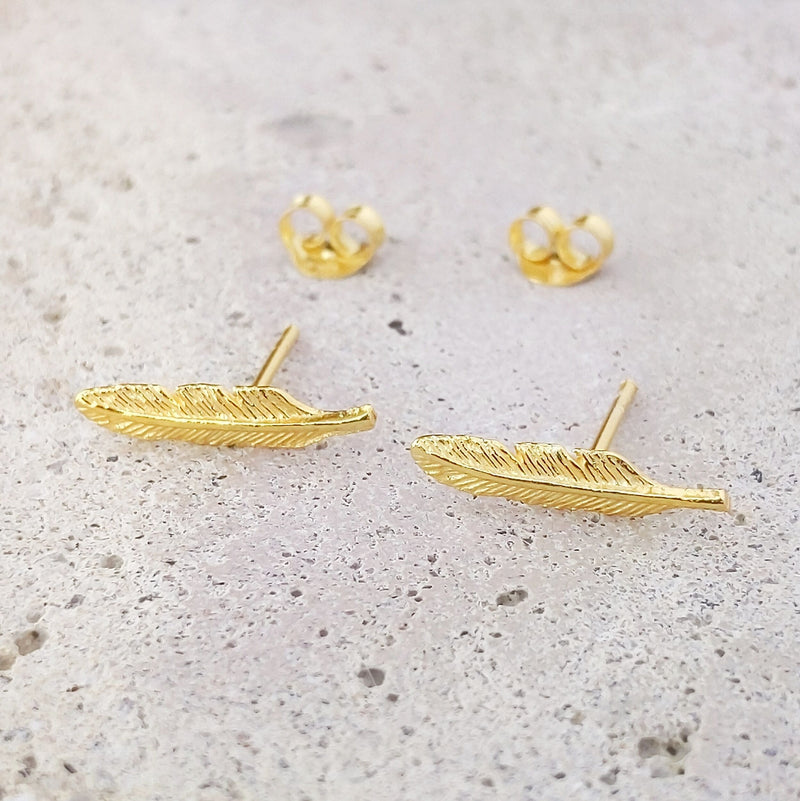 Gold Plated Sterling Silver Feather Studs