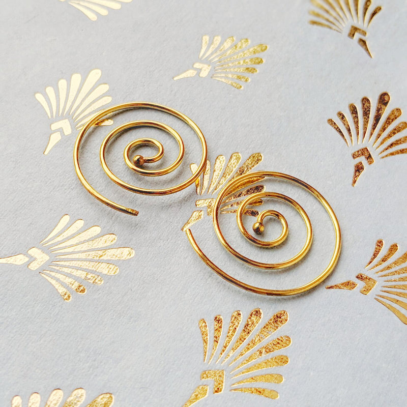 Brass Spiral Endless Hoops