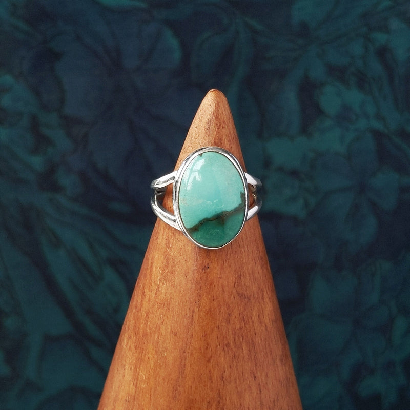 Sterling Silver Oval Turquoise Stone Ring
