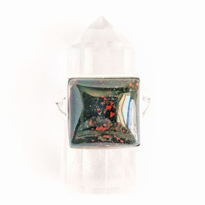 Sterling Silver Square Bloodstone Ring