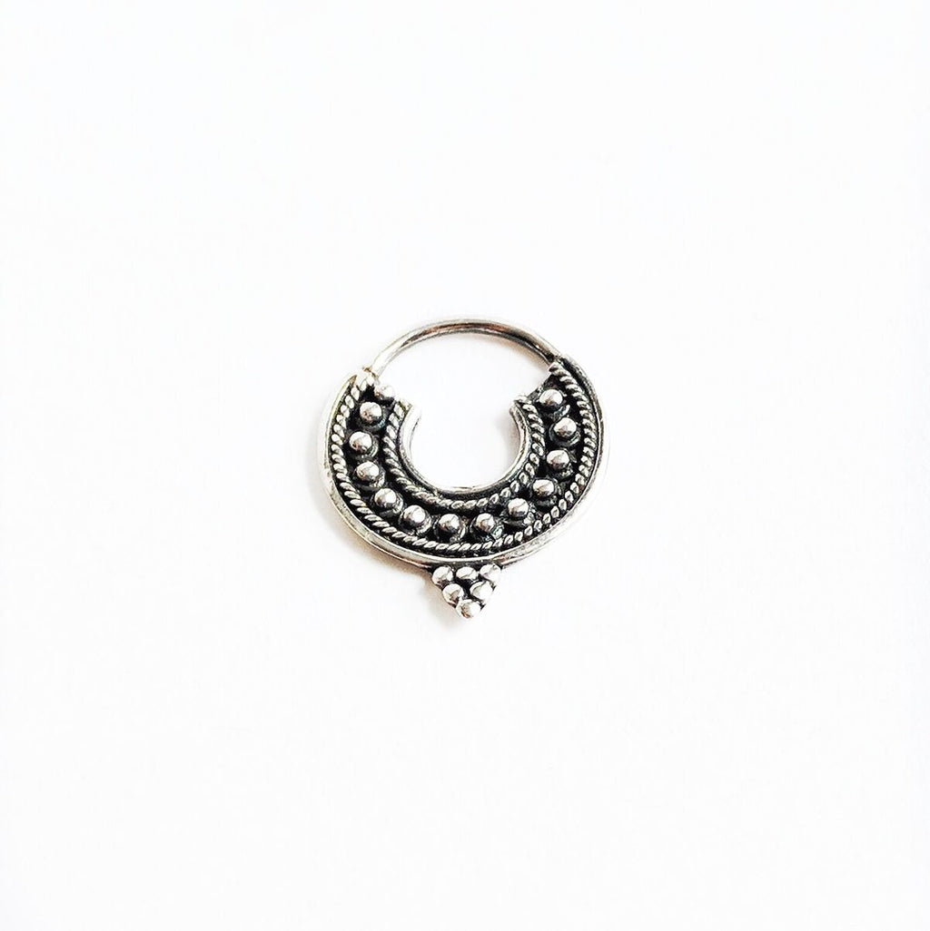 Oxidized Sterling Silver Pointed Septum Ring