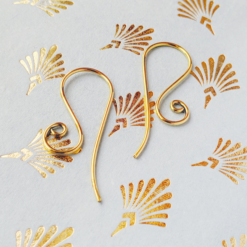 Brass Swirl Drop Earrings
