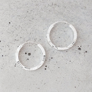 Small Etched Sterling Silver Hoops