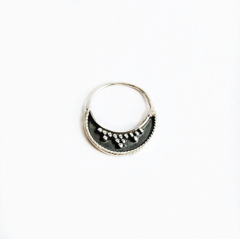 Oxidized Sterling Silver Detailed Septum Ring