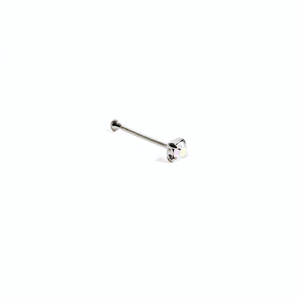 Sterling Silver Ball Back Nose Stud w/Iridescent Square Gem