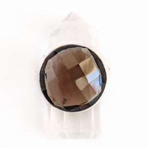 Sterling Silver Faceted Smokey Quartz Ring