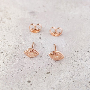 Rose Gold Plated Sterling Silver Evil Eye Studs