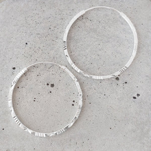 Etched Sterling Silver Hoops