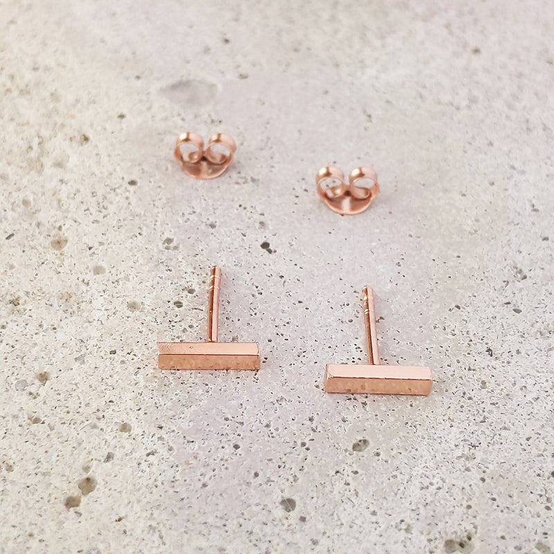 Rose Gold Plated Sterling Silver Bar Studs