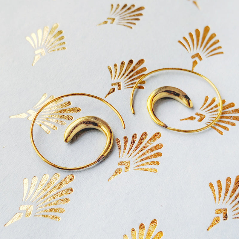 Brass Swirl Earrings