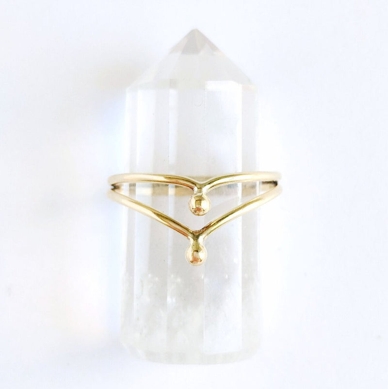 Brass Double Dotted V Ring