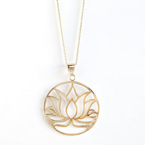 Brass Lotus Medallion Necklace