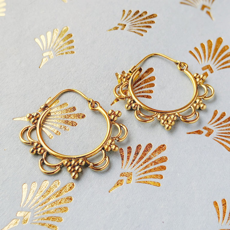 Detailed Brass Ornate Hoops