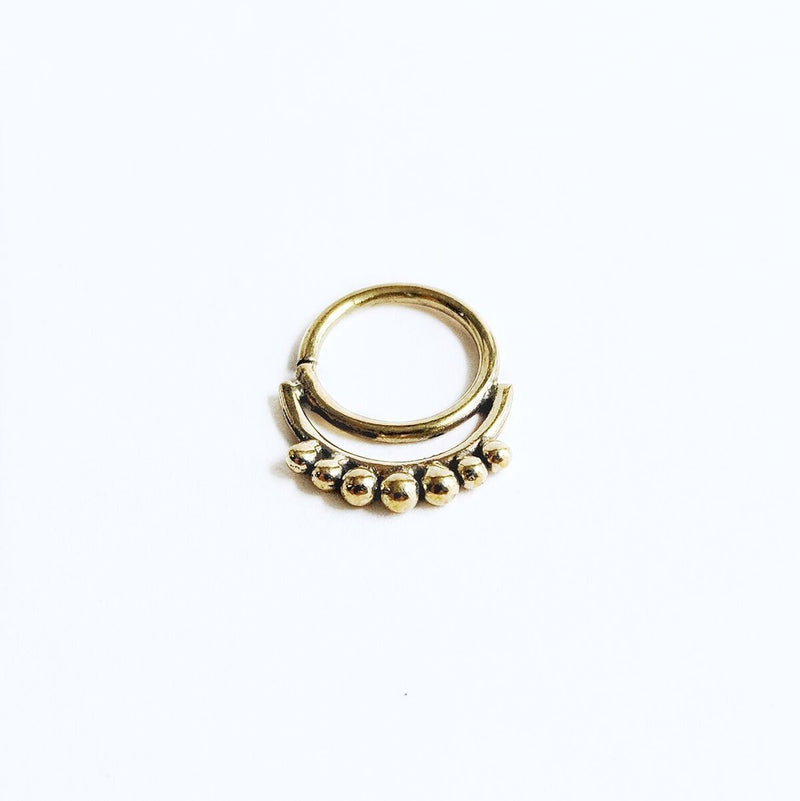 Brass Double Layer Dotted Septum Ring