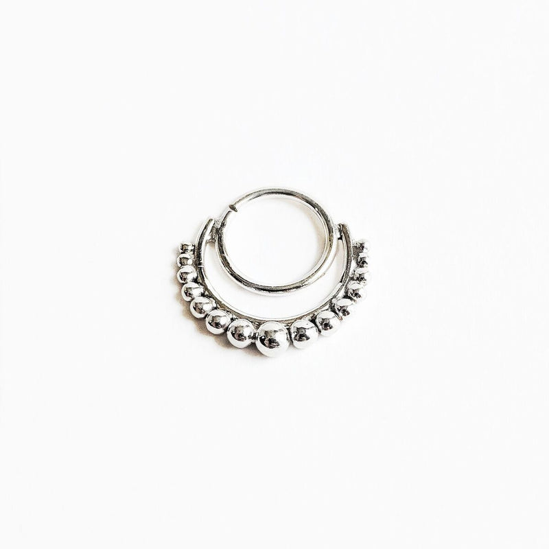 Sterling Silver Double Layer Dotted Septum Ring