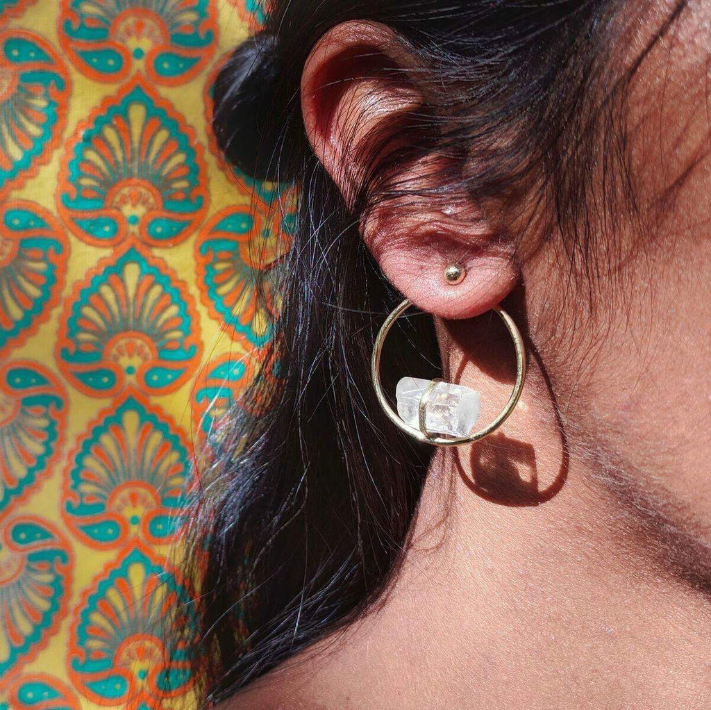 Brass + Quartz Hoop Earrings