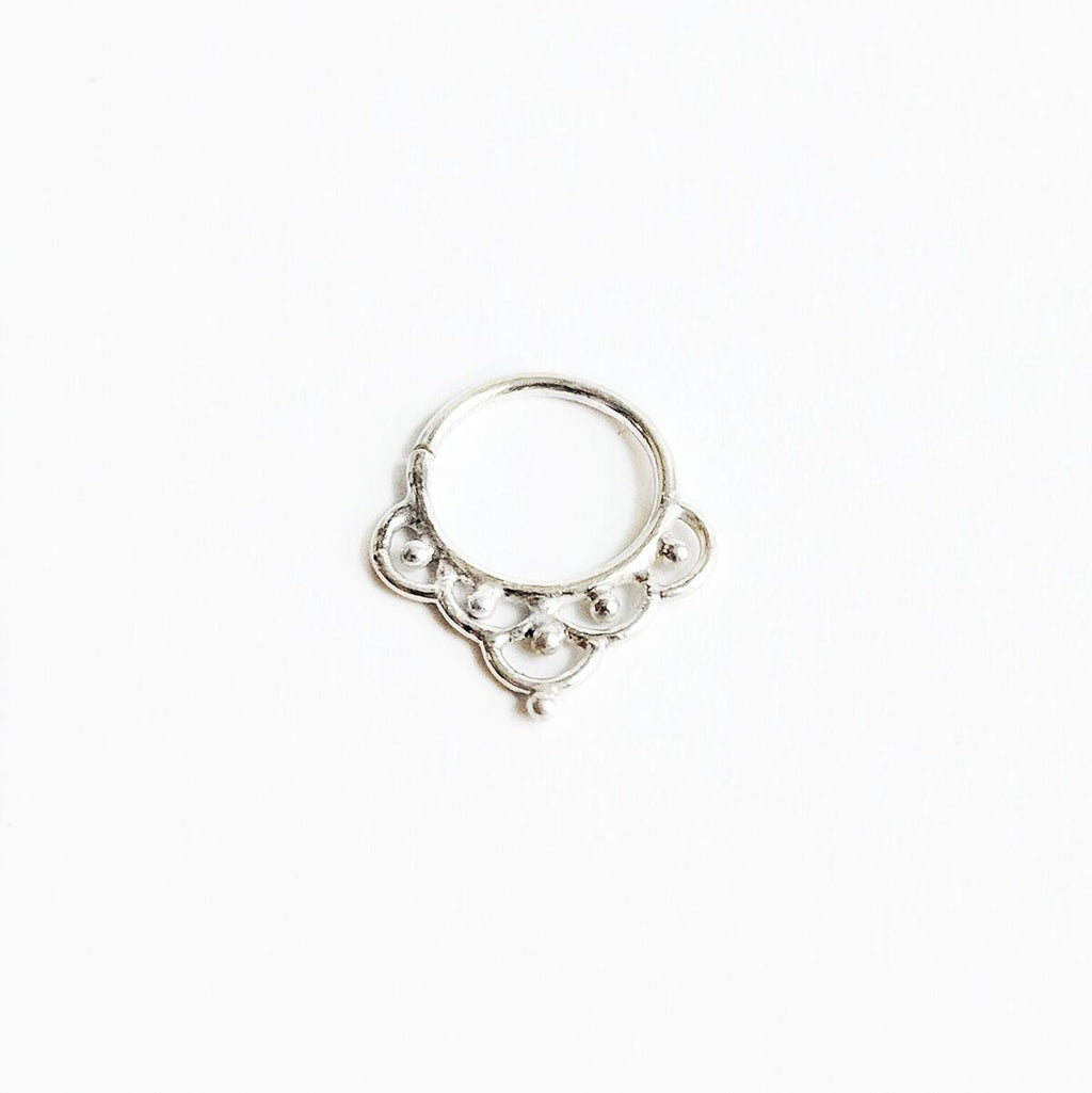 Sterling Silver Detailed Septum Ring