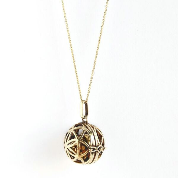 Brass Flower of Life Harmony Ball Necklace