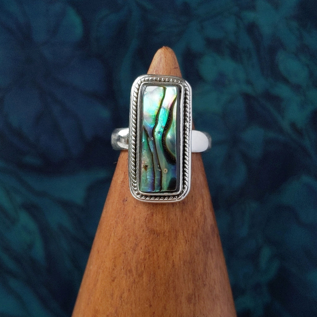 Sterling Silver Rectangle Abalone Shell Stone Ring