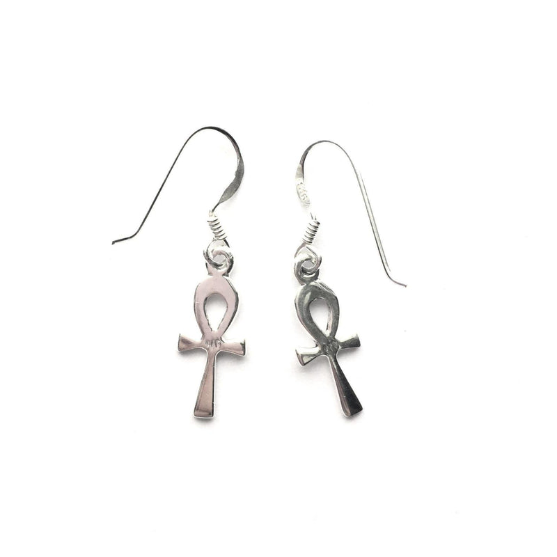 Sterling Silver Ankh Earrings