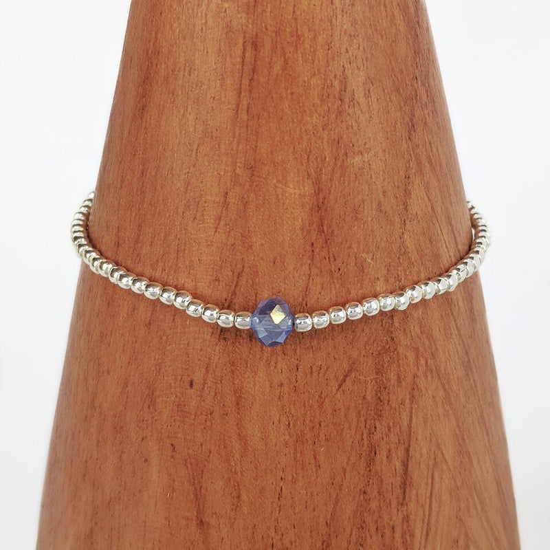 Stretchy Silver Plated Bracelet w/Blue Bead