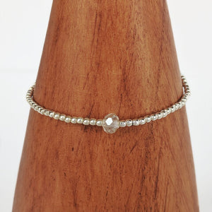 Stretchy Silver Plated Bracelet w/Clear Bead