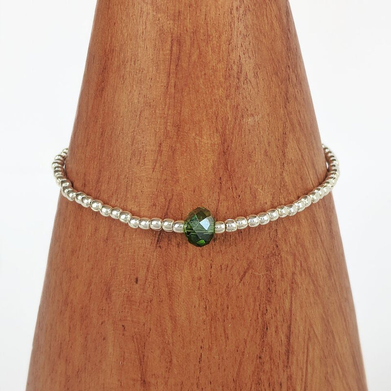 Stretchy Silver Plated Bracelet w/Green Bead