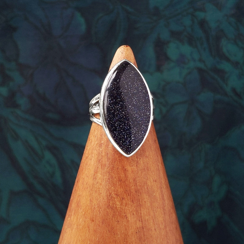 Sterling Silver Double Pointed Blue Goldstone Stone Ring