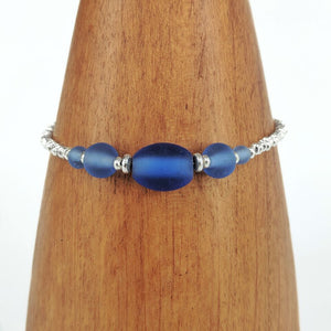 Blue Silver Plated Beaded Bracelet