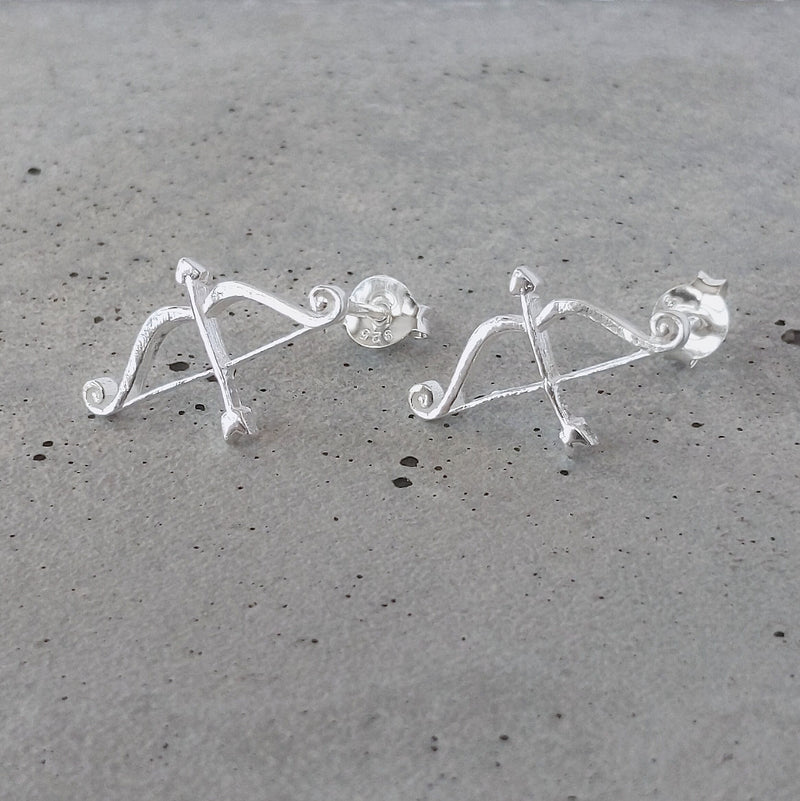 Sterling Silver Cupid's Arrow Studs