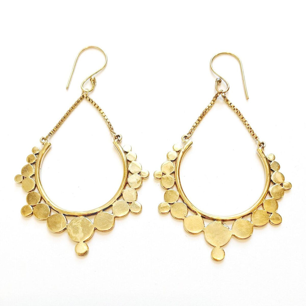 Brass Teardrop Earrings w/Scalloped Edge