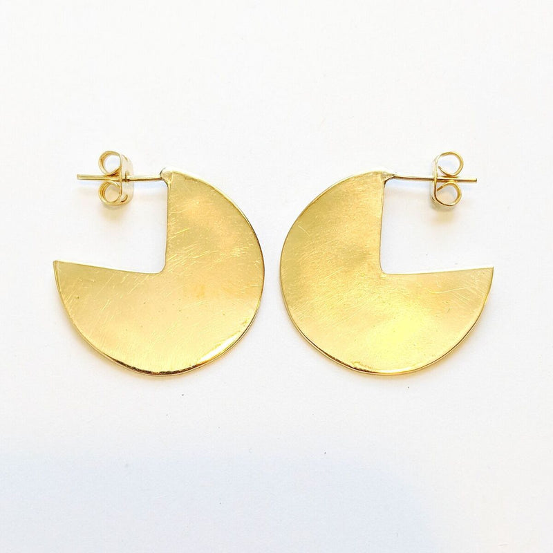 Brass Cut-out Disc Earrings