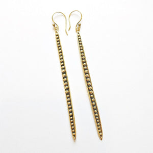 Brass Dotted Matchstick Earrings