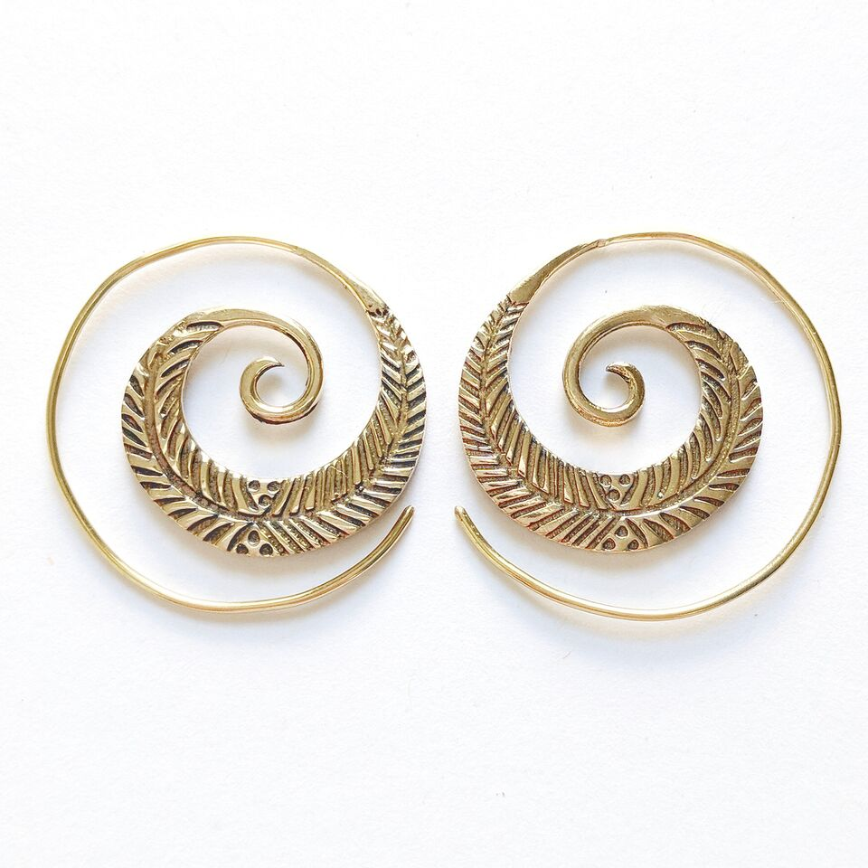 Brass Etched Spiral Earrings