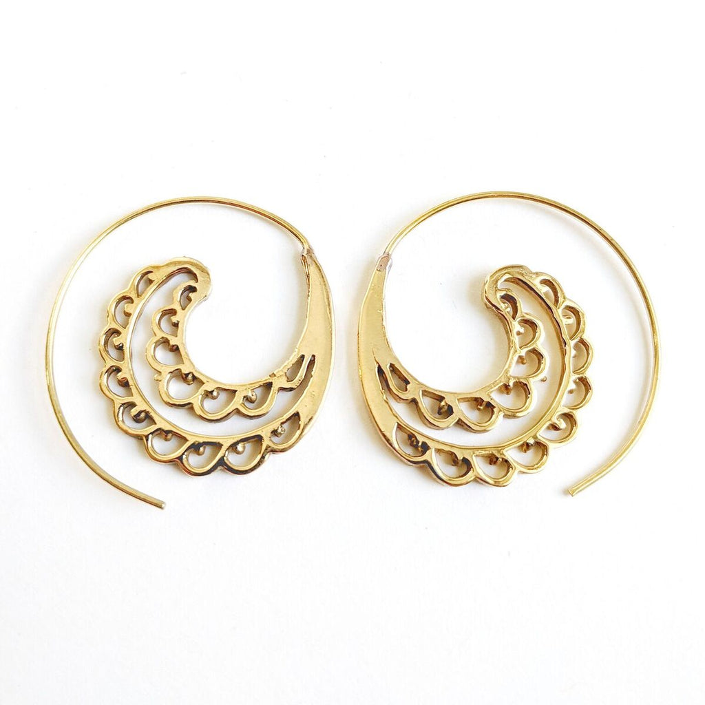 Brass Scalloped Edge Spiral Earrings